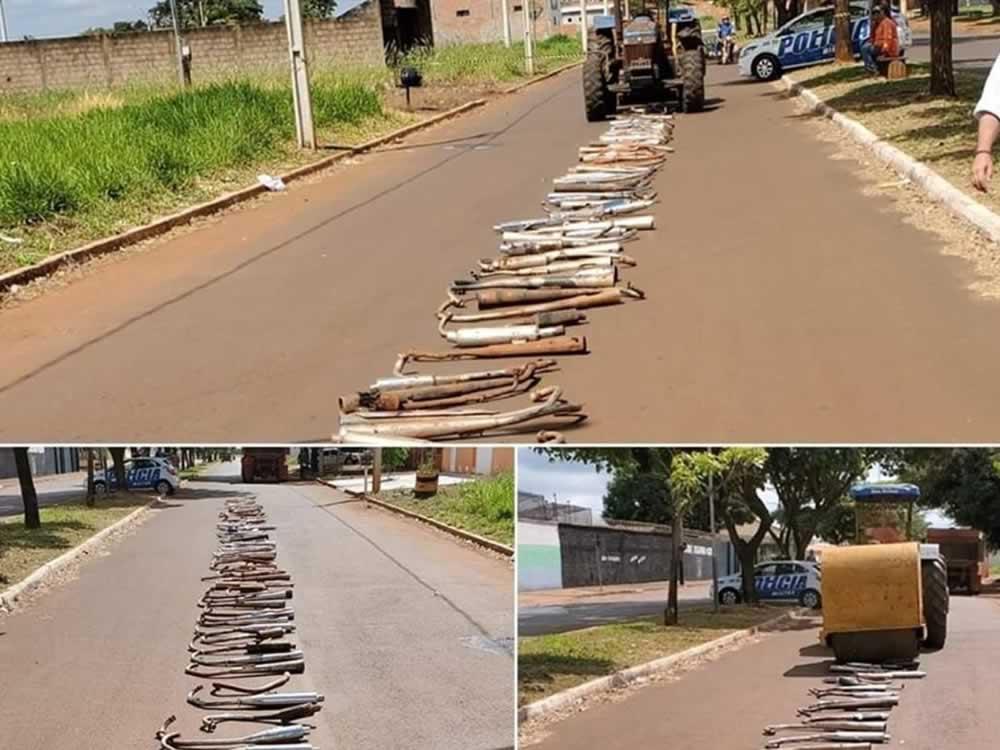 Imagem de Escapamentos de moto utilizados para fazer barulho são destruídos pela PM